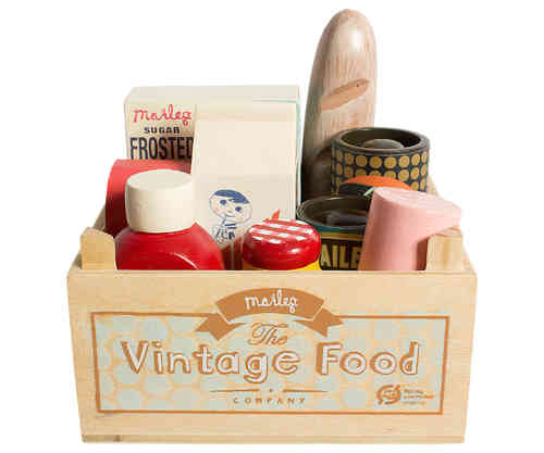 Ruokasetti, Vintage Food, Grogery box, Maileg
