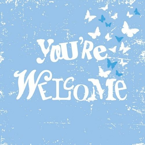 "Lautasliina iso,""You're welcome"" aqua"