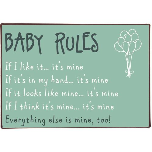 "Metallikyltti ""Baby rules.."""