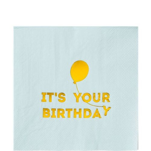 "Servetti iso, ""It's your Birthday"", vaaleansininen"